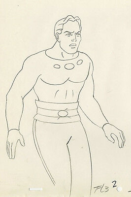 70s Filmation FLASH GORDON Animation Cel Original Production Drawing Art