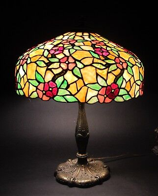 Fine & Large CHICAGO MOSAIC Stained Leaded Glass Lamp  c. 1915  antique