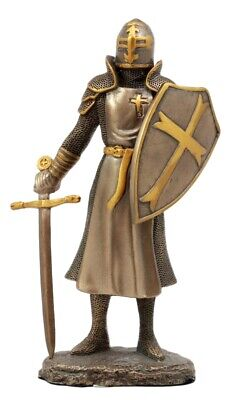 "Bronzed Crusader Knight Figurine 6.25""H Medieval Warrior of The Cross Statue"