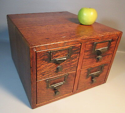 c1920 Oak Card Catalog Library File Cabinet w/4 Drawers Copper Glides & Hardware