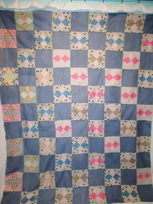 Antique 100% Feedsack Fabric Dated 1933 Cotton Quilt Top Multi-Color Hand Stitch