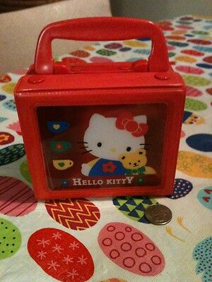 Vintage Sanrio Hello Kitty Small Box Case Purse Snap Tote Handle So Cute!