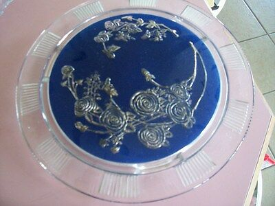 """Sharon Cabbage Rose 11 1/2"""" footed  blue cake plate"""