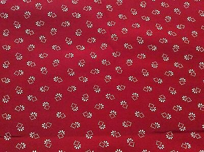 3 Yards Of Vintage Red With White Abstract Print Rayon Or Poly Blend Fabric