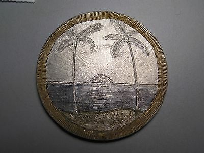 "2 Sided ""WW2 Trench Art"" on a Silver Australian Florin. Palm trees, hut, sunset."