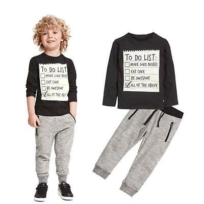 2Pcs Toddler Baby Boys Shirt + Gray Pants Set Kids Clothes Sports  Outfits 110