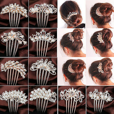 CHIC Crystal Rhinestone Flower Wedding Bridal Hair Comb Hairpin Clip Jewelry
