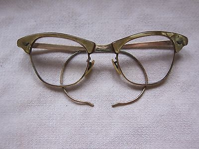 This is a Pair of Gold Metal & Plastic Vintage Glasses Frames 1960's or so 5 3/4
