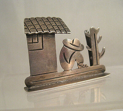 Vtg? STERLING SILVER TAXCO MEXICO SIETSA PLACE or BUSINESS CARD HOLDER 1-5/8""