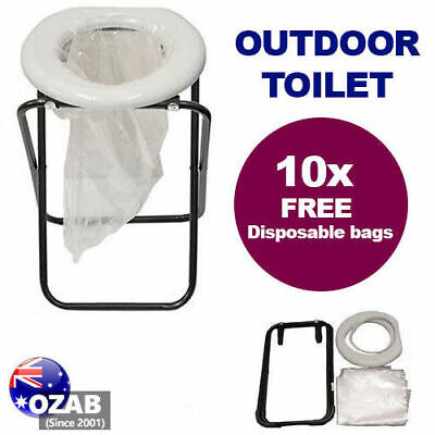 Outdoor Camp Travel Camping Portable Folding Toilet Caravan W/ 10 BONUS BAGS
