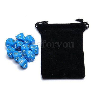 10pcs Set 10 Sided D10 RPG D&D Gaming Dungeons Playing Game Bag Dice Blue 0-9