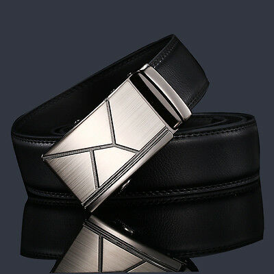 Luxury Mens Black Leather Belt Waistband Waist Strap With Automatic Buckle 32-36