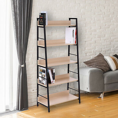 Bookcase 5-Tier Shelves Bookshelf Display Wood Storage Home Office Organizer New
