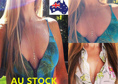 AU Shiny Crystal Bra Chest Body Bikini Chain Rhinestone Jewelry Harness Necklace
