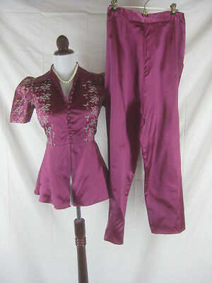 Vtg 40s 50s Burgundy Womens Vintage Satin Embroidered Hostess Lounge Set Pajamas
