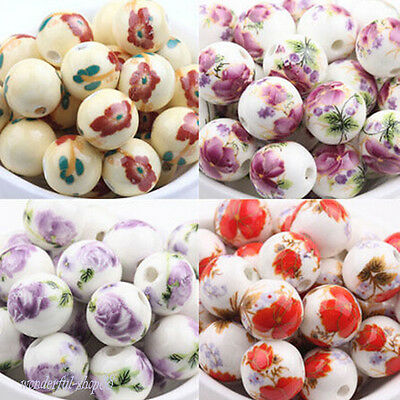 12MM 10/20Pcs Flower Pattern Round Ceramic Porcelain Loose Charms Spacer Beads