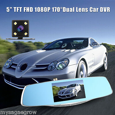 "170° HD 1080P 5"" LCD Car DVR Dash Cam Dual Lens Rearview Mirror Video Recorder"