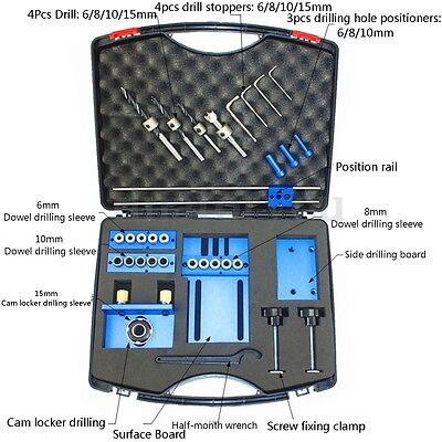 Toolbox Aluminium Alloy Dowelling Jig Set Wood Dowel Drilling Position Jig Cam