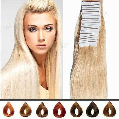 60 Tressen Tape In / On 100% Echthaar Remy Hair Extensions Haarverlängerung WP01