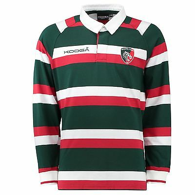Kooga Leicester Tigers Home Classic Jersey L/S Junior 2016-17 Green/Red/White