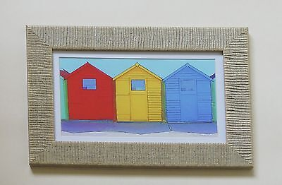 Fine Canvas Framed Photographic Print of Beach Huts In Sand Ripple Effect Frame