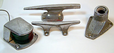 Vintage AC Perko JC Boat Bow red/green Navigation Light Base Cleat Parts Lot