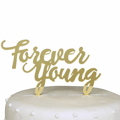Unik Occasions Forever Young Birthday Acrylic Cake Topper