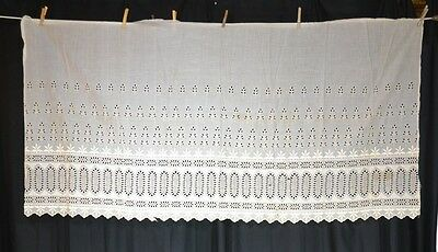 eyelet lace wide white antique Victorian 32 x 68 in. cotton original 1800