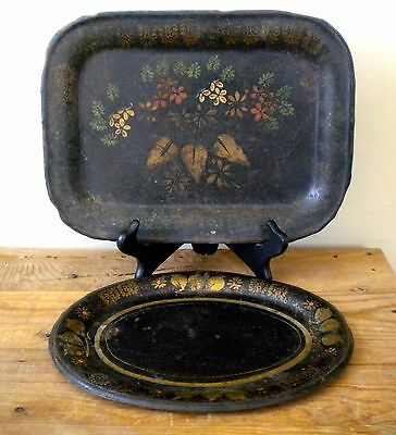 2 Antique Primitive Small Hand Painted Tole Ware Trays Oval Rectangular