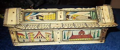"Rare Antique Games Box  FRENCH "" Napoleonic POW Games Box ""   Dominoes"