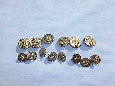 set of brass fox head buttons ..vintage ..6 x large , 8 x small