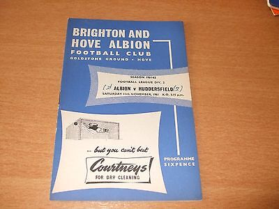 1961 - 1962 BRIGHTON v HUDDERSFIELD TOWN # LEAGUE