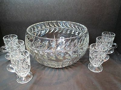 Laurel Leaf Heavy Cut Crystal Punch Bowl and 6 Footed Cups