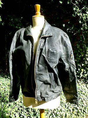 VINTAGE FRENCH 1970s / 80s MILITARY PILOTS STYLE  LEATHER JACKET