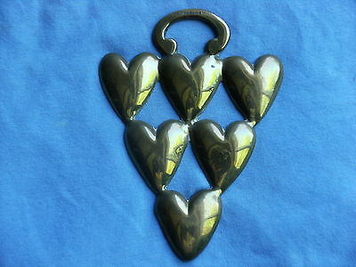 Horse Brass  Cast Seven Triangulated Hearts Registration Number R.e.thacker