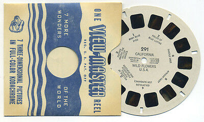 California Wildflowers USA 1940's Sawyer's ViewMaster Single Reel 291