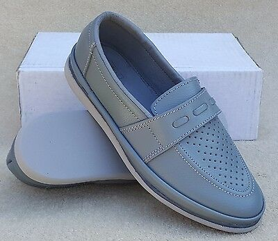 ELITE Ladies Domino Grey Leather Slip On Bowls Bowlers Shoes UK 4 ExDisplay (5)