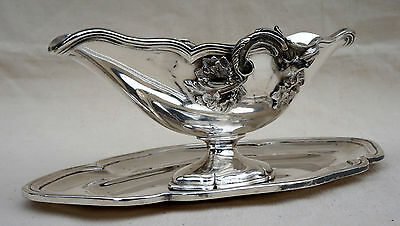 French Silverplate Gravy Sauce Boat Underplate Louis XV P Morel Paris 1860