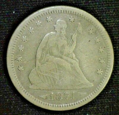 Tough Type 1874-S  Seated Silver Quarter F/vf     (2197Nam)