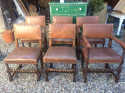 Antique Oak & Leather Set Six Dining  Chairs ,