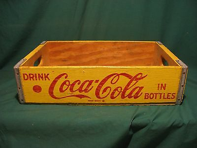 Coca-Cola Wooden Bottle Crate Yellow W/Red letters Excellent Condition!!!