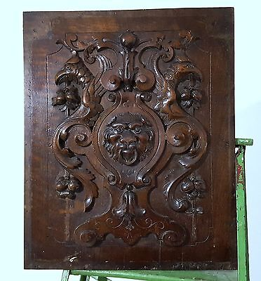 LION GRIFFIN PANEL ANTIQUE VINTAGE HAND CARVED WOOD WALNUT SALVAGED CARVING a