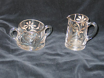 Antique Vtg Glass With Sterling Silver Overlay Cream & Sugar Set- Art Nouveau