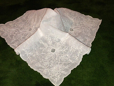 Antique Vtg HANDMADE  APPENZELL LACE  Heavily Embroidered Handkerchief Hanky-#4