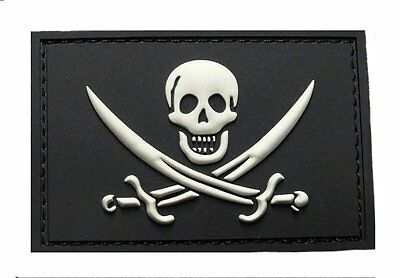 Jolly Roger Calico Jack PVC Rubber Morale Hook PVC Patch