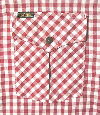 Vintage LEE Gingham Check/Checkered Western Shirt (70s) Burgundy/White WOW! L