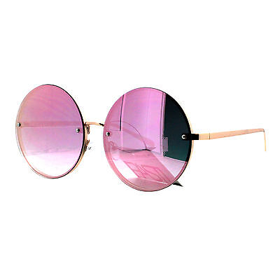 PASTL Super Oversized Round Sunglasses Womens Pink Mirror Lens UV 400