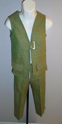 GIRL'S VTG 1960s 2 pc GREEN & GOLD CHEVRON ACRYLIC VEST & PANTS SUIT SIZE 8 NOS