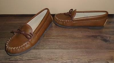 CHILD'S BOY OR GIRL VTG 1970s BROWN LEATHER MOCCASINS HOUSE SLIPPERS Sz 2 NOS