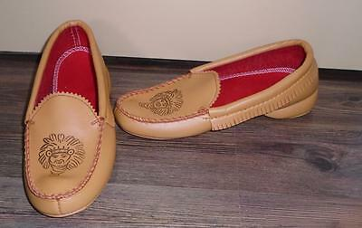 CHILD'S VTG 1970s MOCCASIN STYLED SLIPPERS STAMPED INDIAN HEAD SYMBOL Sz 4 NOS